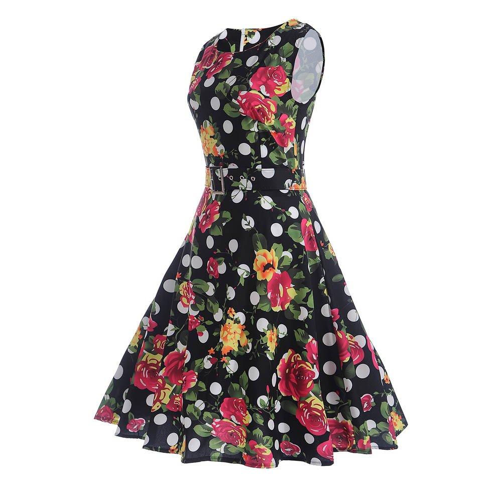 1459105a2fd66 Women's 50S 60S Vintage Dresses Sleeveless Floral Print Swing ...