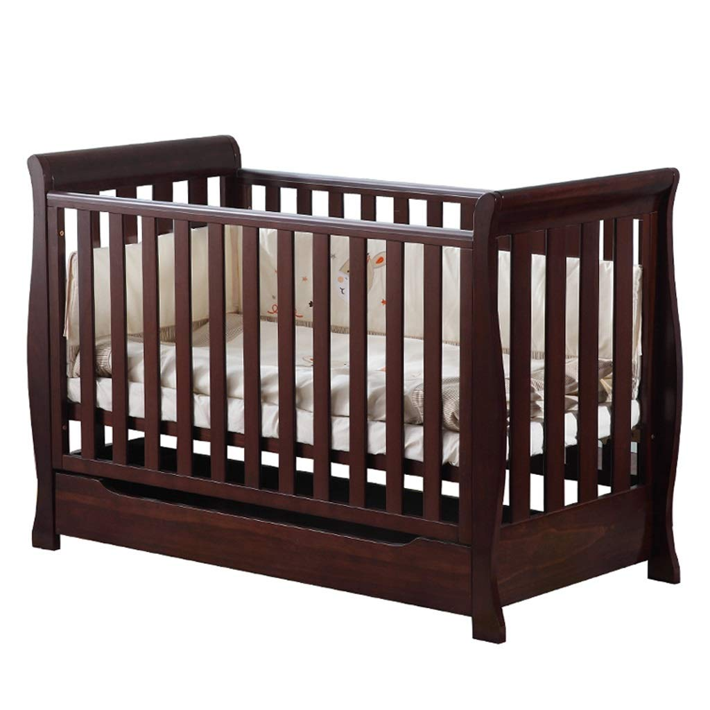 Babybett Babybett Spleißbett massivem Holz europäischen Stil Multifunktions Kinderbett Bett (Farbe   Weißszlig;, größe   134  65.2  97.2cm) braun