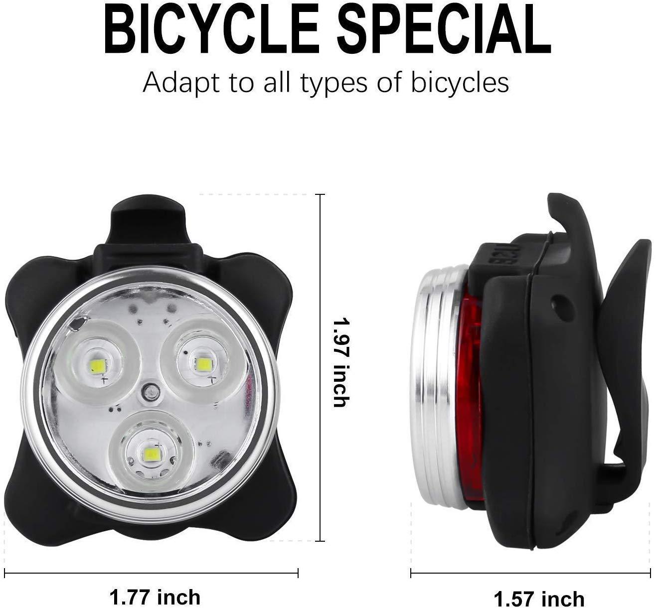 DKINs LED Bicicleta Luces Set Bicicleta USB Recargable l/ámpara Linterna Ciclismo Impermeable Luces Establece con Cable USB Luces Cabeza Rojo Blanco