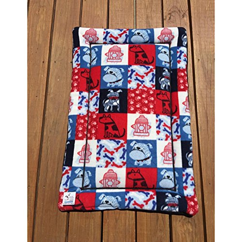 Dog Crate Pad with Patriotic Dogs Big Puppy Bedding Cat Mat Kennel Medium Pad Fits 24x36 Crate by Comfy Pet Pads