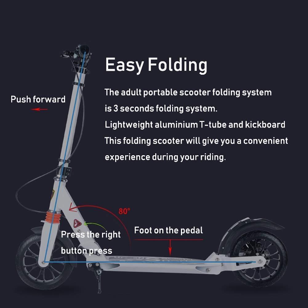 AFDK Kick scooter plegable Kick adulto con ruedas grandes Pu ...