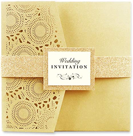 Ponatia 20 Pcs Laser Cut 3 Folds Square Wedding Invitations Cards With Belt For Wedding Birthday Engagement Greeting Invitations Cards Use With