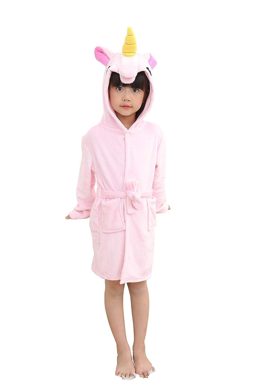 DarkCom Unisex Kids Bathrobe, Unicorn Hooded Robe for Boys and Girls Kids Hooded Unicorn Dressing Gown Robe Cosplay Costumes Pyjamas