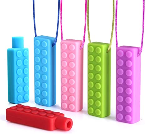 Sensory Chew Necklace with Bonus Biting Pencil Topper Set Teether Silicone Toy