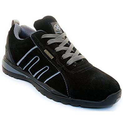 2ff0139b02b BARGAINS-GALORE Mens Suede Safety Trainers Shoes Boots Work Steel Toe Cap  Hiker Ankle Womens Black Grey
