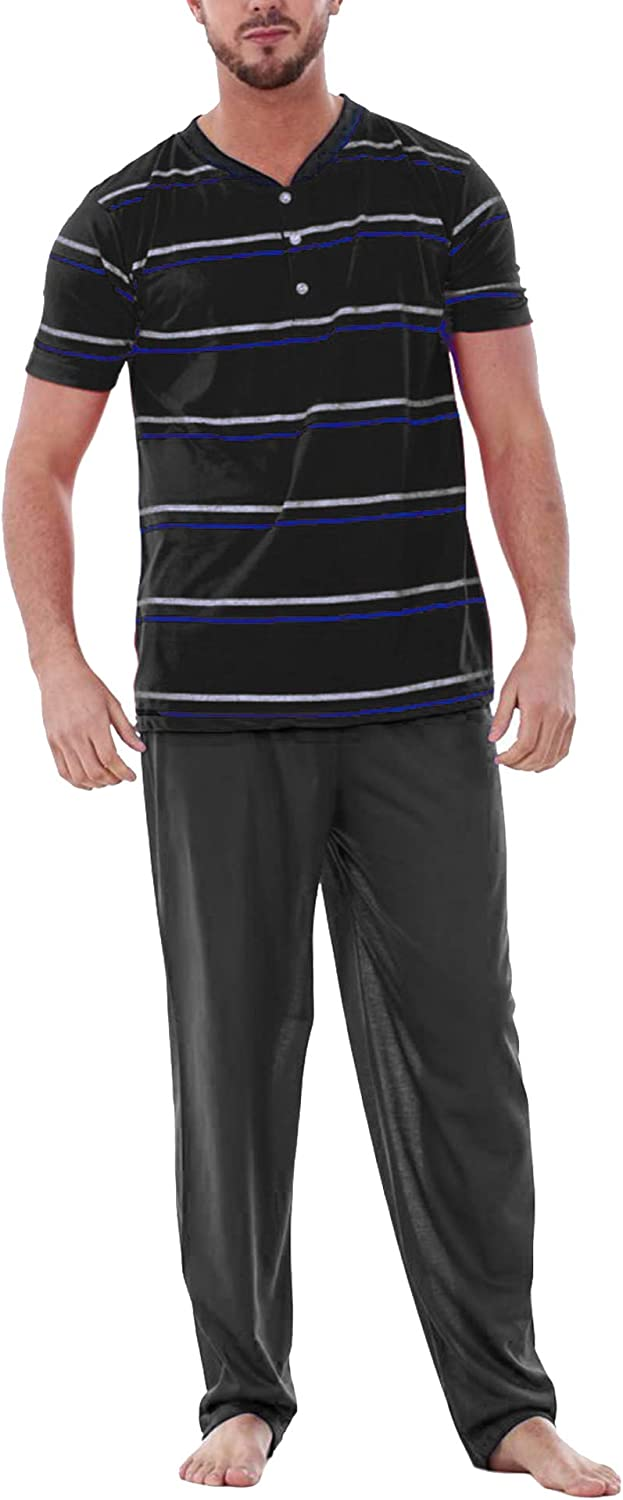 Ekouaer Sleepwear Mens Pajamas Set Striped V-Neck Soft Sleep Set Short Sleeve Top and Long Pants