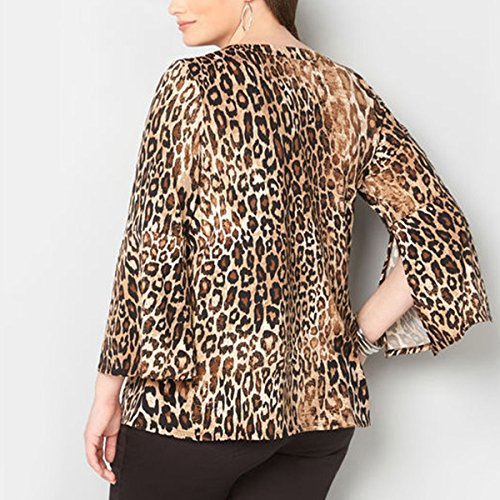 Manga Corta Con Cuello Redondo Estampado As Y V Shown Larga Leopardo Camiseta En De 0xwqPF4F