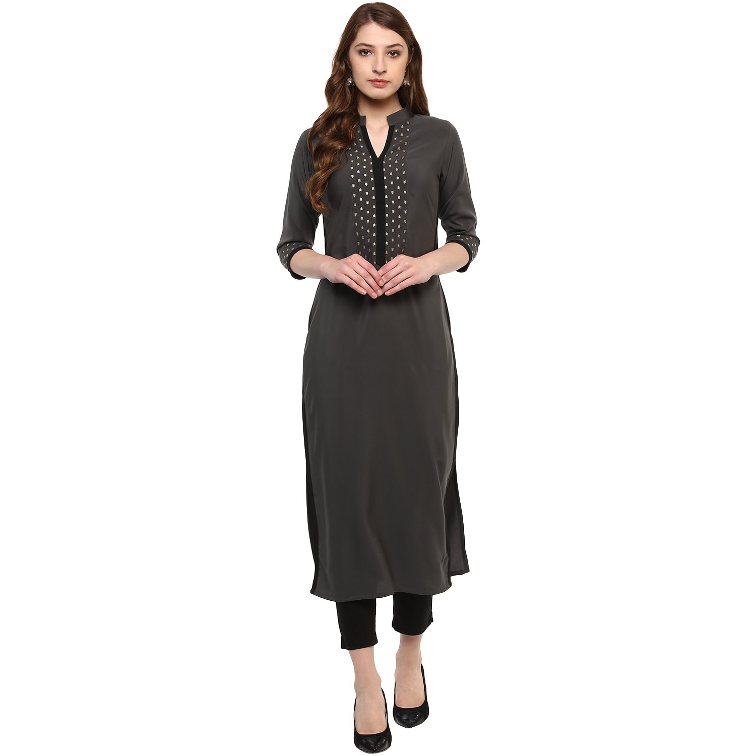 Ziyaa Women's Grey Colour 3/4Th Sleeve Crepe Straight Kurta product image