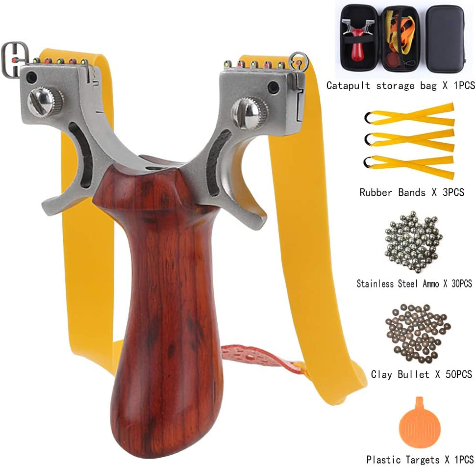 Hunting Slingshot Catapult Wooden Flat Rubber Bands Shooting Target Aiming Sight