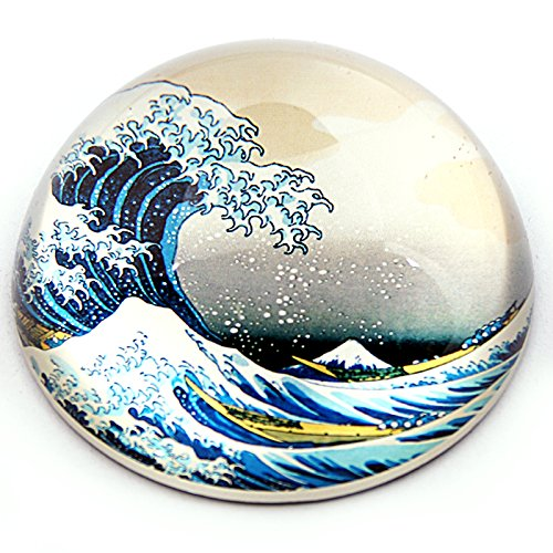 Great Wave Off Kanagawa Japanese Glass Desktop Paperweight by Hokusai PHOK1 Parastone