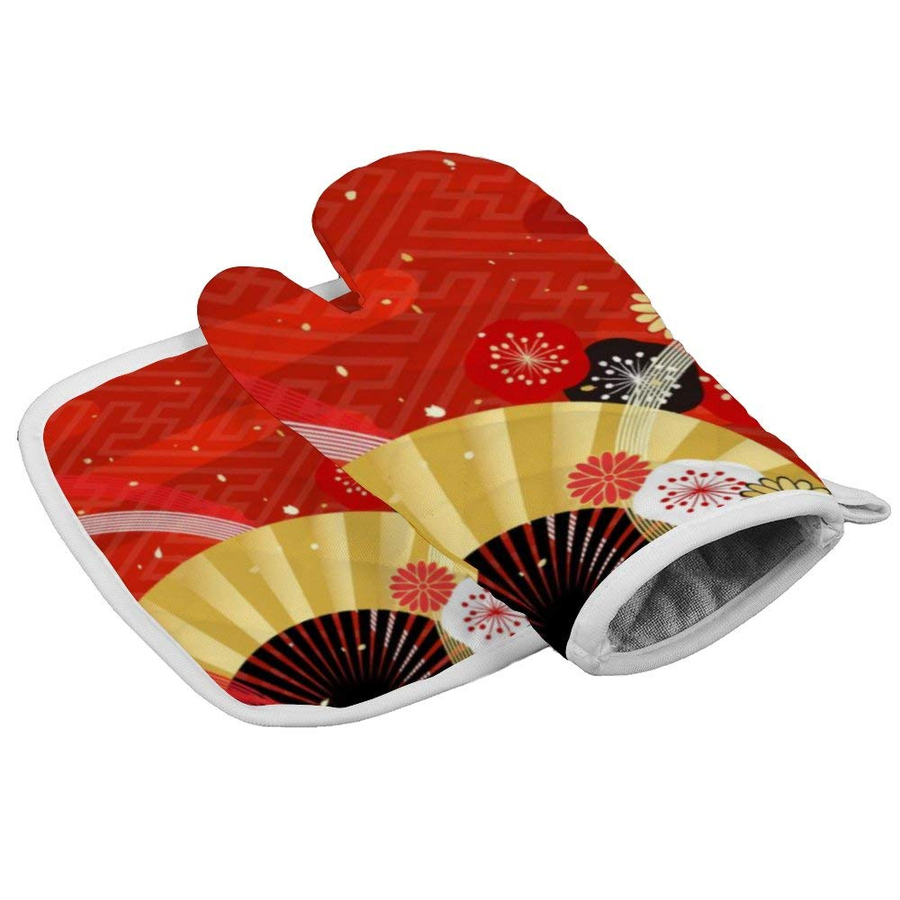 Japanese Style Plum Oven Gloves Microwave Gloves Barbecue Gloves Kitchen Cooking Bake Heat Resistant Gloves Combination