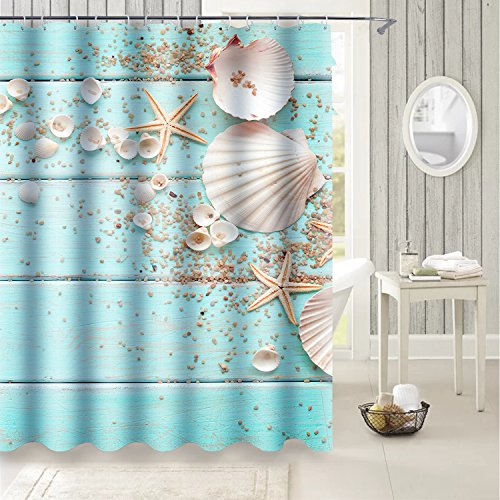 Uphome Beach Fabric Shower Curtain, Aqua Seashell and Starfish on The Coastal Cloth Shower Curtain Heavy Weighted Waterproof, Bathroom Sea Decorations, 60x72 ()