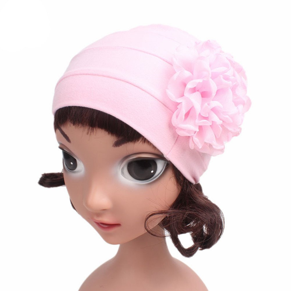 QandSweat Baby Girls Hats with Curly Chiffon Flower Adorable Cap for Infant Toddler and Kids 5 Pack