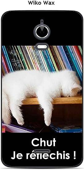 Onozo Coque Wiko Wax Design Chat Blanc Qui dort Chut: Amazon.fr ...