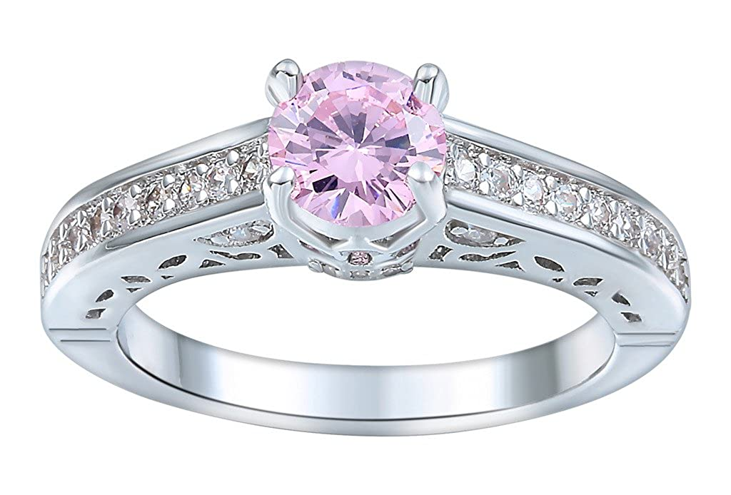 Xiang Ru Round Princess Plated 925 Silver Hollow Pink Cubic Zirconia Rings