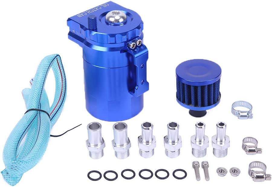 SUNROAD Universal Aluminum Oil Catch Can Polish Baffled Reservoir Tank with Breather Filter Auto Dual Cylinder Engine Air Oil Separator Tank Blue