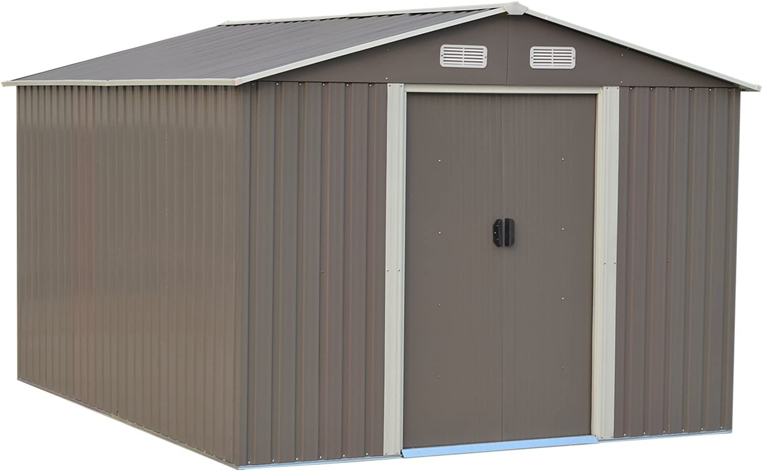 10X8 Ft Outdoor Storage Shed Yard Garden Steel Tool House Brown