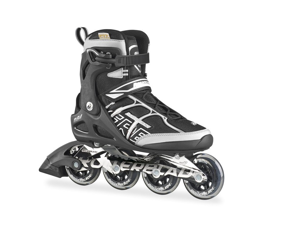 Rollerblade Men's Macroblade 84 Alu Fitness/Training Skate, Black/Silver, US Size 7