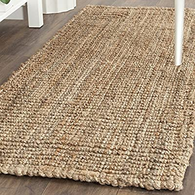 """Safavieh Natural Fiber Collection NF447A Hand-woven Chunky Textured Jute Area Rug, 2' 6"""" x 4' - Safavieh's Chunky Hand-Woven Natural Fiber Jute Rug with 1,000+ customer reviews Beautifully textured and handwoven of thick, sustainable, and durable jute fibers Reversible and borderless for a clean aesthetic look and multipurpose furnishing options - runner-rugs, entryway-furniture-decor, entryway-laundry-room - 610ohg3lURL. SS400  -"""