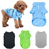 TOLOG 4 Pack Dog T-Shirt Pet Summer Shirts Puppy Clothes for Small Medium Large Dog Cat,Soft and Breathable Cotton…