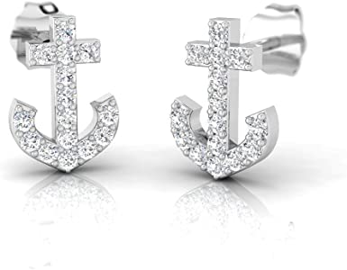 1x Piece of Sterling Silver 925 Anchor Post Stud Earring