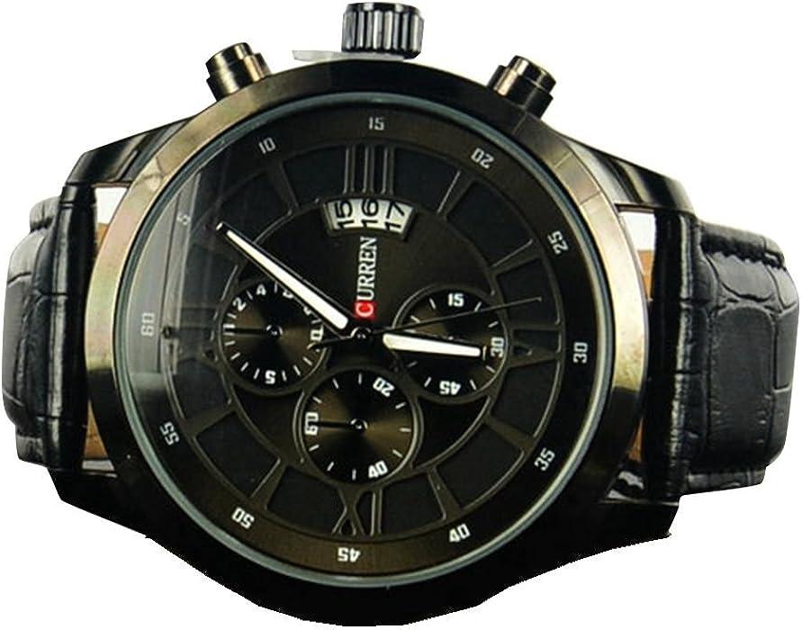 Reloj YPS Curren Marca Vogue Hombres de Negocios con el calendario cuero genuino-Negro WTH4017