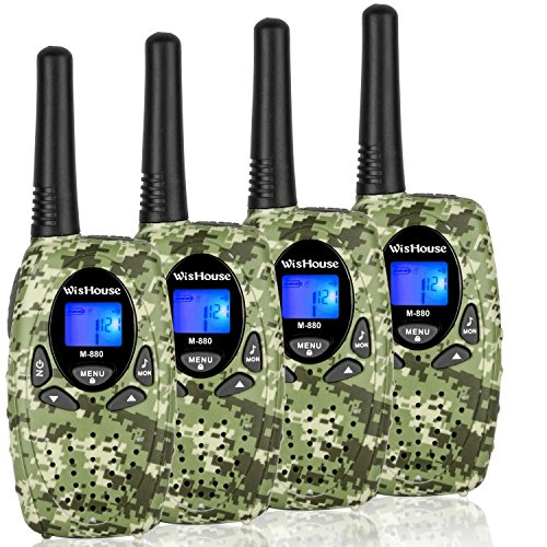 WisHouse 4 Pack Walkie-Talkies Camo - UHF CB 2 Way Radios for Adults Long Range - CTCSS DCS Walky Talky Largo Alcance - FRS PTT Woki Toki with Microphone 22 Channels for Traveling Camping Cruise Ship