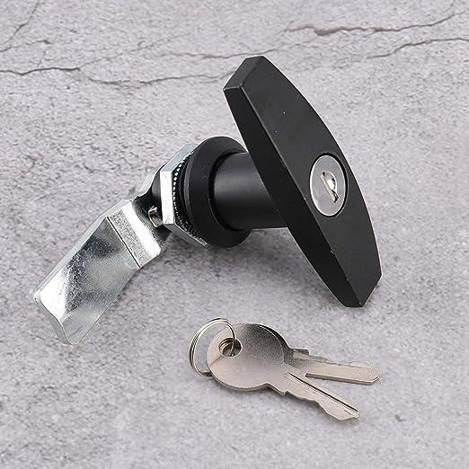 Argento Lucchetto a T fissaggio posteriore Lucchetto a T Box per garage Serratura a T universale con chiavi per chiavi per roulotte Roulotte
