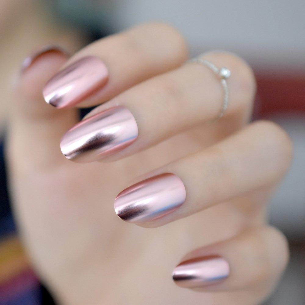 Amazon.com : Matte Metal Nail Art Tips Light Pink Metallic Mirror ...
