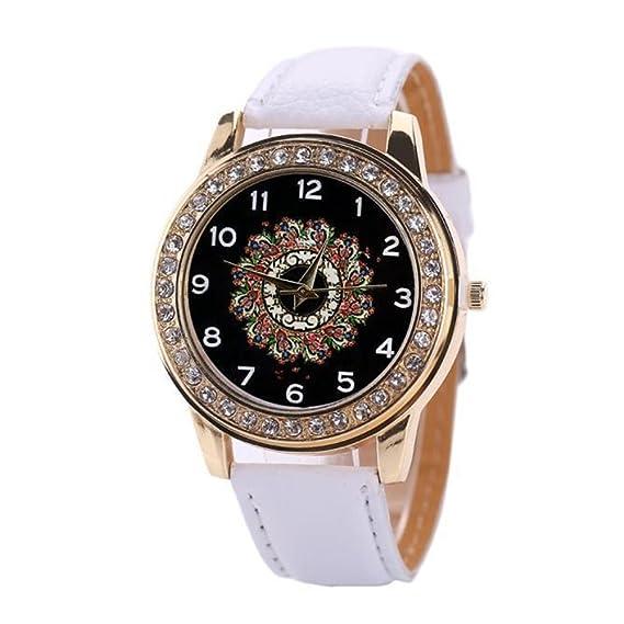 SSITG Damas Reloj mujer RELOJ DIGITAL piel redondo Caja Acero Inoxidable analógico de cuarzo reloj de pulsera Wrist Watch Regalo Gift: Amazon.es: Relojes
