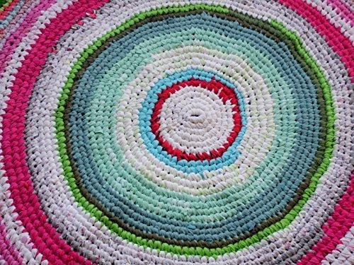 Amazoncom Crochet Round Rug Upcycled T Shirt Rug Upcycled Floor
