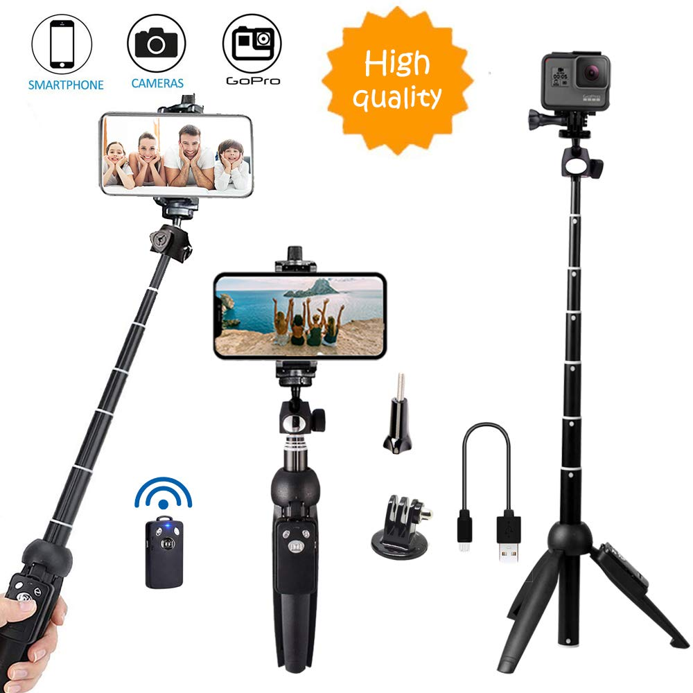 Bluehorn All in one Portable 40 Inch Aluminum Alloy Selfie Stick Phone Tripod with Wireless Remote Shutter for iPhone Xs Max Xr X 8 7 6 Plus, Android Samsung Galaxy S9 Note8 Smartphone Cellphone by Bluehorn