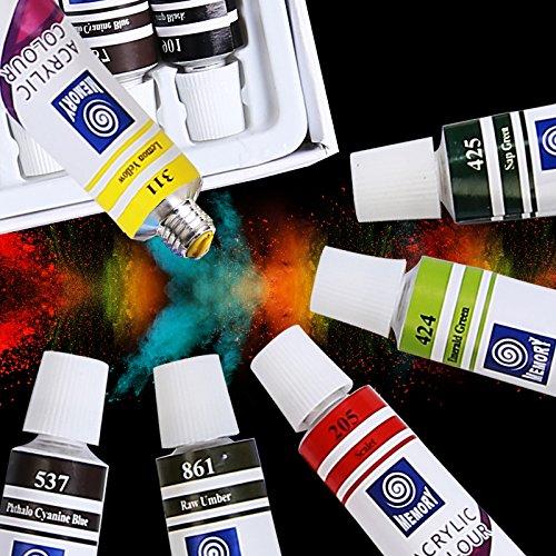 Amagic Acrylic Paint Set - 24 Colors x 12ml Tubes - Artist Quality Art Paints All Purpose Easel