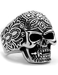 Metal Masters Co.® The Ultimate Stainless Steel Casted Skull Tribal Biker Ring Sizes 9 to 14