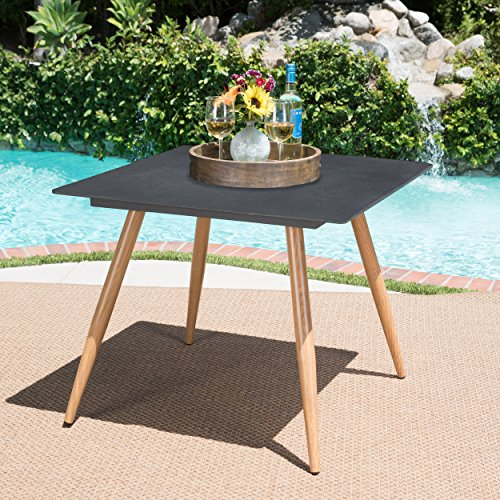 Petra Outdoor Dark Grey Square Simulated Stone Glass Dining Table with Wood Finished Metal Legs