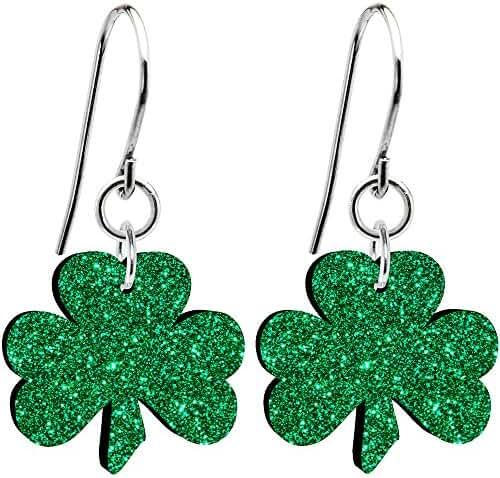 Body Candy Green Glitter Luck Clover Earrings