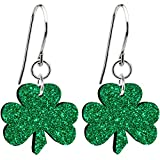 Body Candy Green Glitter Luck Clover Earrings