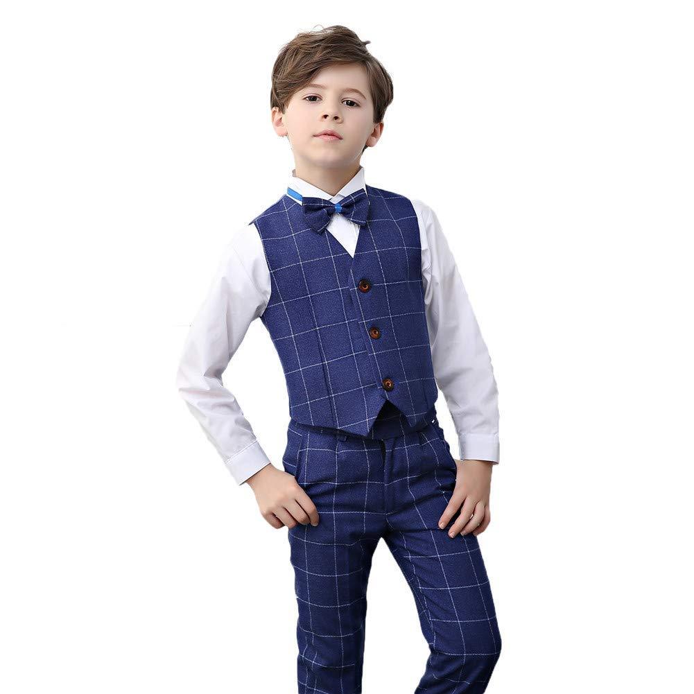 suit women Wedding Suits for Boys Slim Fit 4Pcs Boy Formal Dresswear Set for Birthday Blue Plaid Tuxedo