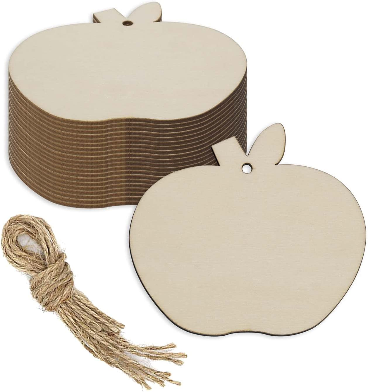 JANOU 20pcs Apple Shape Unfinished Wood Cutouts DIY Crafts Blank Hanging Gift Tags Ornaments with Ropes for Wedding Birthday Christmas Party Decoration, 3.94x3.54 in