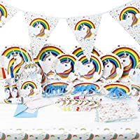 Unicorn Birthday Party Supplies Unicorn Birthday Decorations for Kids Unicorn Theme Tablecloth, Plates, Banner, Napkins, Hats, Gift Bag & More Party Favors 90 Piece Set