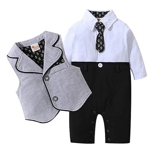 d96b49367 Amazon.com  yfeel Baby Boys Gentleman Rompers Toddler Wedding Suit ...