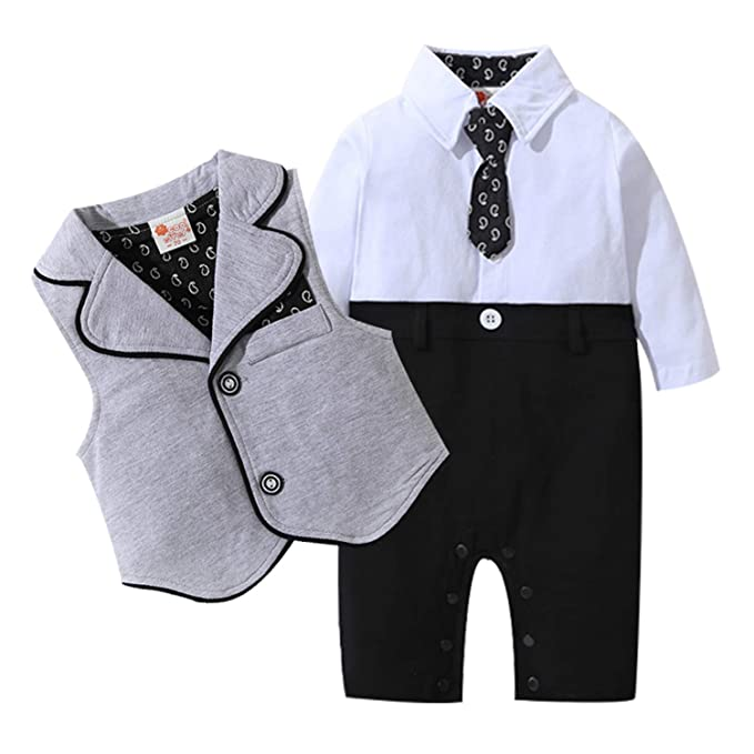 b0781efe94c Amazon.com  yfeel Baby Boys Gentleman Rompers Toddler Wedding Suit Infant  Tuxedo Jumpsuit Outfit  Clothing
