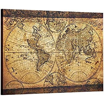 Amazon.com: Decor MI Vintage World Map Canvas Wall Art Retro Map of ...
