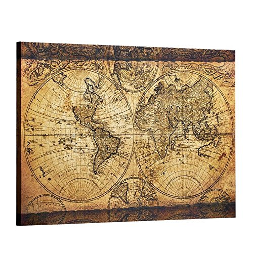 (Decor MI Vintage World Map Canvas Wall Art Retro Map of The World Canvas Prints Framed and Stretched for Living Room Ready to Hang 24