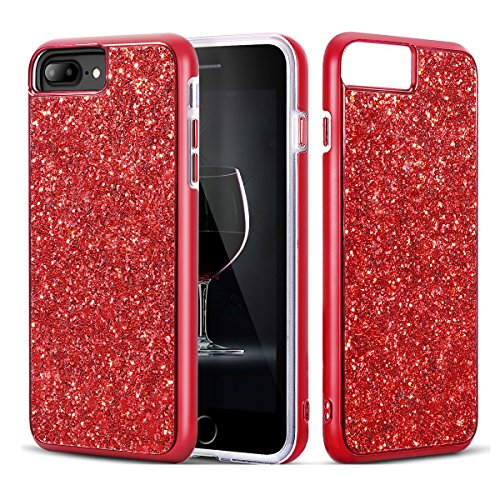 iPhone 7 Plus Case, iPhone 8 Plus Case, Bling Sparkly Glitter Shockproof Dual Layer Design [Hard PC Back, Soft TPU Inner] Protective Cover with Lanyard Strap for iPhone 5.5 Inch (Red)
