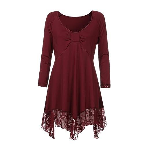 Mujeres Tops Rovinci Las Mujeres cómodas de Moda más el tamaño de Las Mujeres Camisa de Encaje de Manga Larga Casual Camisa Larga Tops Blusa L-5XL: ...