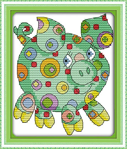 "Good Value Cross Stitch Kits Beginners Kids Advanced - Colorful Animal 11 CT 8""X 9"", DIY Handmade Needlework Set Cross-Stitching Accurate Stamped Patterns Home Decoration Frameless (Pig)"