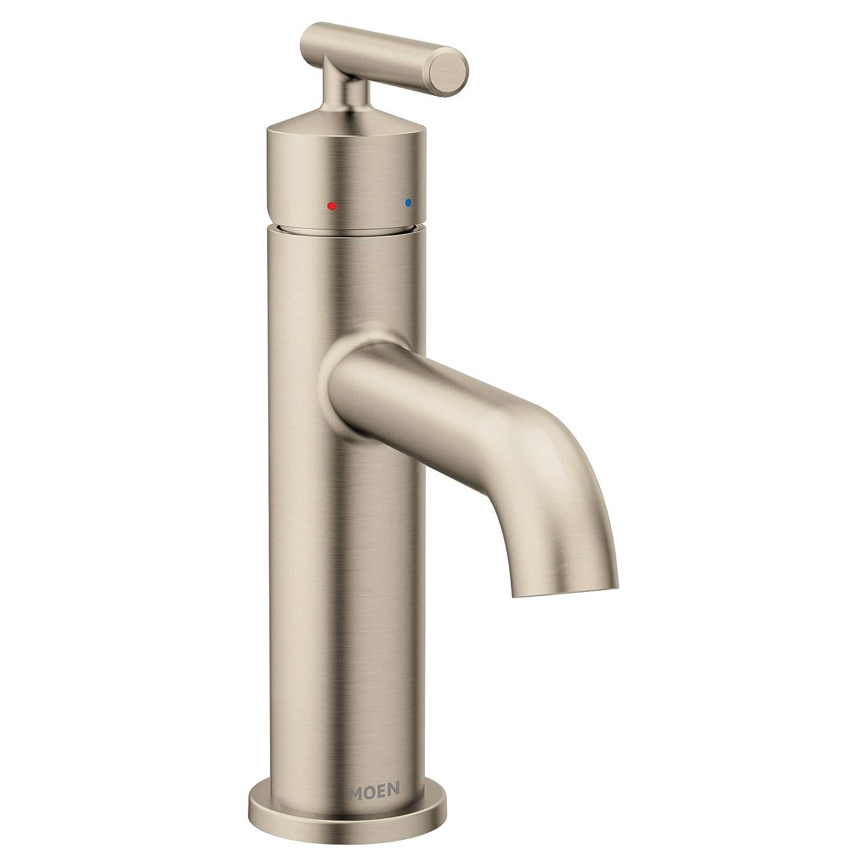 Moen 6145BN Gibson One-Handle Single Hole Modern Bathroom Sink Faucet with Optional Deckplate, Brushed Nickel