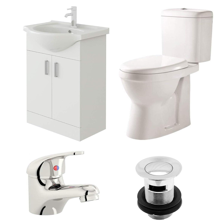 Geneve Close Coupled Toilet /& Mono Basin Mixer with Waste VeeBath Linx Bathroom Suite 550mm Vanity Cabinet Sink Unit