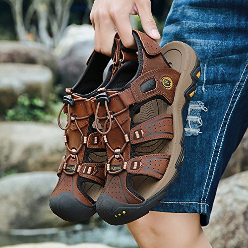 Leather Brown Mens Zapatos Sports De Senderismo Trekking Punta Playa Zapatos Caminar Libre Summer Al De Zapatos Cerrada Aire para De Sandalias Cómodos rrq5p1